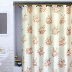 @Overstock - Fabric shower curtain features a printed coral motif on cream fabric  Bathroom accessory features a buttonhole top  Shower curtain features white solid background with coral motifshttp://www.overstock.com/Bedding-Bath/Coral-Shower-Curtain/3712773/product.html?CID=214117 $19.99