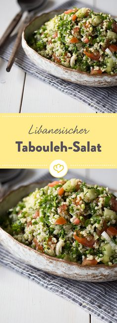 Lebanese tabbouleh salad - Tabouleh comes from Lebanese cuisine and is a fresh, light salad made from bulgur, crunchy vegetabl - Vegetarian Recipes, Cooking Recipes, Healthy Recipes, Tabouleh Salat, Couscous Salat, Bulgur Salad, Lebanese Tabbouleh, Healthy Salads, Healthy Eating