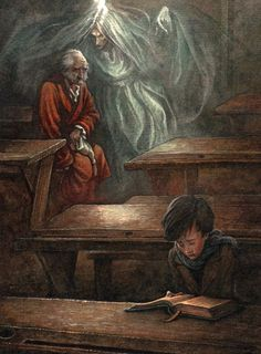 Charles Dickens' 'A Christmas Carol' with illustrator P. Lynch showing the Ghost of Christmas Past with Ebenezer Scrooge seeing himself as a schoolboy, banished from home. Scrooge A Christmas Carol, Christmas Carol Charles Dickens, Ghost Of Christmas Past, A Christmas Story, Christmas Art, Christmas Holidays, Xmas Carols, Ebenezer Scrooge, Calvin And Hobbes