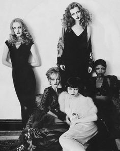 """Chelsea Girls"". Kate Moss, Cecilia Chancellor and others by Thierry Le Gouès for Harper's Bazaar US February 1993"