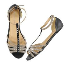 flat t-bar sandal with studded straps Flats, Sandals, Affordable Fashion, Footwear, Bar, Womens Fashion, Shopping, Shoes, Loafers & Slip Ons