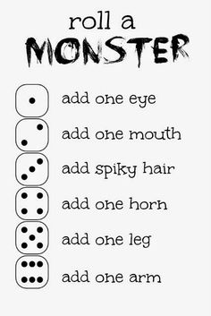 a Monster Game and Free Printable Cut out how many arms and legs etc. and then you get a dice and the build a monster game is on.Cut out how many arms and legs etc. and then you get a dice and the build a monster game is on. Monster Activities, Learning Activities, Preschool Activities, Kids Learning, Monster Games For Kids, Educational Activities, Games To Play With Kids, Icebreaker Activities, Road Trip Activities