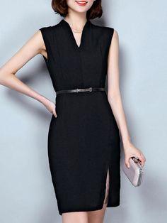 AdoreWe - Fashionmia Split Neck Plain Belt Bodycon Dress - AdoreWe.com Date Dresses, Dresses For Work, Trendy Fashion, Women's Fashion, Fashion Design, Style Ideas, Style Inspiration, Career Wear, Wardrobes