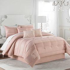 NEW! Matte Satin Pleated Luxury Elegant 7-Piece KING Size Comforter Set in Pink Blush with Sleep Mask