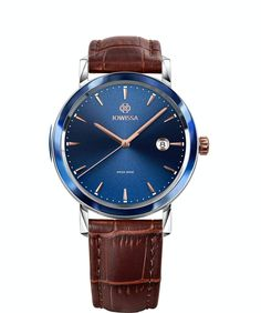 Swiss watch for men in Rose Gold / Blue / Brown. Stylish, unique, and elegant. Magno Swiss Men's Watch by Jowissa. Great Gifts For Men, Gifts For Women, Swiss Watches For Men, Classic Man, Classic Style, Gents Watches, Watch Case, Stainless Steel Case, Gold Watch