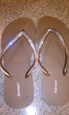 REAL Swarovski Crystals On Copper Flip Flops