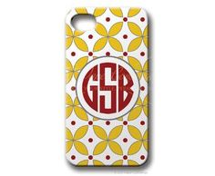 $49.95 Yellow/Dark Red Diamond Dot Personalized iphone cover from Paper Concierge