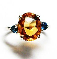 Citrine ring citrine blue topaz citrine & topaz by Michaelangelas $69.99 3 stone ring!