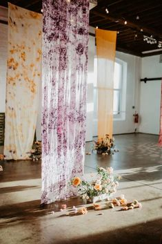 Zesty Colorful Same Sex Wedding Inspiration – Miz Sylvia – Camilla Andrea Photography 40 Natural dyed fabrics adorn this ceremony space with florals that seemingly sprout from the ground. #bridalmusings #bmloves #weddinginspiration Wedding Inspiration, Wedding Ideas, Bridal Musings, Camilla, Unique Weddings, Florals, Fabrics, Colorful, Bride