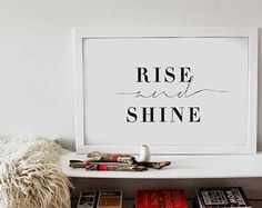 Rise And Shine - Bedroom Wall Art - Black & White Typography Poster - Love - Wedding ETSY
