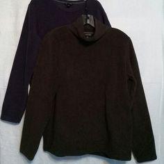 Lands' End Long Sleeve Tops Bundle Soft n' snuggly fleece dark brown mock turtleneck and purple crew neck.  Two EUC tops. Lands' End Tops Tees - Long Sleeve