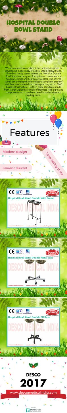 We are counted as consistent firm actively involved in developing modern day  Hospital Double Bowl Stand. Fitted on sturdy castor wheels the  Hospital Double Bowl Stand are designed for optimum convenience at hospitals, clinics and health care centers.