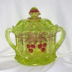 Northwood Canary Cherries & Cable Vaseline Glass Biscuit Jar  Beautiful