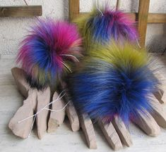 """Thanks for the kind words! ★★★★★ """"They are beautiful and so well made."""" Lyn B. http://etsy.me/2nG28ib #etsy #accessories #hat #rainbow #foxfur #furpompom #furpompoms #fauxfurpom #fauxfur #pompom"""