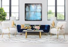 Looking for modern living room ideas with furniture and decor? Explore our beautiful living room ideas for interior design inspiration. Glam Living Room, New Living Room, Living Room Modern, Interior Design Living Room, Living Room Designs, Living Room Decor, Family Room Design, Modern House Design, Modern Art