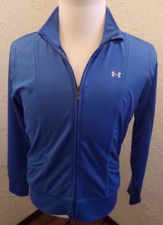 Women's Under Armour Track/ Running Jacket Light Blue Large Full Zip Up EUC…