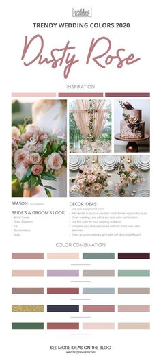 The Best Wedding Color Ideas For 2020 ★ wedding colors 2020 dusty rose trendy wedding colors # wedding themes colors The Best Wedding Color Ideas For 2020 Popular Wedding Colors, Pink Wedding Colors, Wedding Color Schemes, Wedding Color Palettes, April Wedding Colors, Country Wedding Colors, Elegant Wedding Colors, Vintage Wedding Colors, Country Weddings