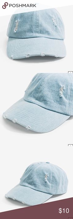 Light Blue Denim Women's Distressed Baseball Cap Brand new with tags from a'gaci. A baseball cap made from denim with a distressed front, a curved brim, and an adjustable back strap. Partially lined. Finished seams. One size fits most. a'gaci Accessories Hats