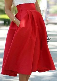 Red Plain Pleated Pocket Below Knee Loose Fashion Skater Midi Skirt