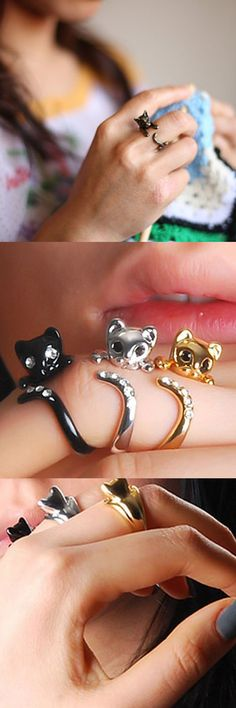 This adorable, wrap-around adjustable cat ring is comfortable to wear and is a purrfect companion. Delicately crafted in Silver Plated, Yellow Gold Plated, Glossy Gun Black Plated, Antique Bronze, or Matte Black. Comes with a gift box.