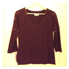Madewell Burgundy Embroidered Tee 3/4 Length Sleeve and detailed embroidery make this burgundy tee special.  Size XS from Madewell Madewell Tops Tees - Long Sleeve