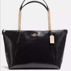 NWT Coach Ava Chain Tote! Brand new and so gorgeous!! This bag is beautiful black cross grain leather with gold chain hardware. Strap drop is 9. Coach Bags Totes
