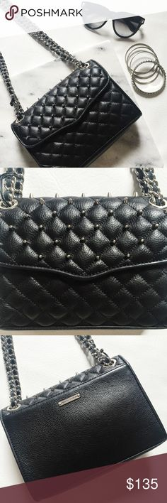 "Rebecca Minkoff Quilted Mini Affair Studded Bag Rebecca Minkoff Quilted Mini Affair Studded Bag featuring supple black leather and silver tone studs.  Wear with double straps or longer single strap.  NWT, never worn!  Dustbag included.  Measurements: 8.25"" W x 6.5"" H x 2.5"" D  Strap drop:  12.5"" (doubled) or 23"" (single) Rebecca Minkoff Bags"