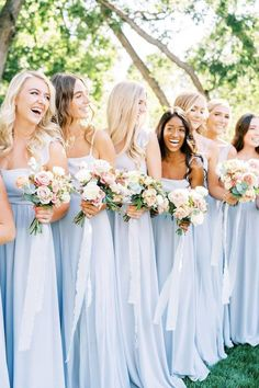 """Here's your """"something blue"""" wedding inspo! We adore the way this color maintains its own character in all its tones. 💙 Who's dressing their bridesmaids in a similar hue?! 