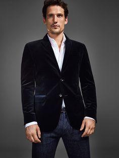 Veste velour noir homme