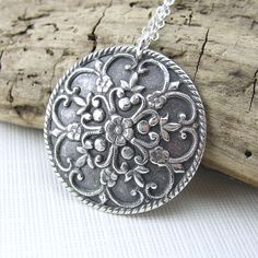 Antique Button Necklace Silver Circle Flower by JenniferCasady, $57.00