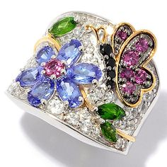 148-392 - NYC II® Multi Gemstone Butterfly & Flower Band Ring