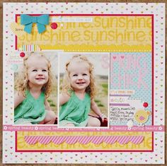 Brook Stewart layout - like the balance of this layout, combined with adorable bow accent - would you little less pattern paper for overall balance