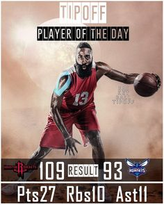 James Harden Tipoff Player of the day.   Howard's homecoming looked liked it was going to be sweet for him. Eric Gordon killed it though....  The absence of Chris Paul is not being felt at all by the Houston Rockets. So much so I would consider trading him already but you will never get value for him.  Charlotte Hornets have had a great start to the season but as you watch them play the rawness of their team play is obvious.   Malik Monk is backing up at point guard and clearly he can do…
