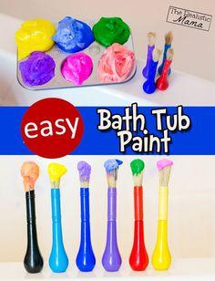 Easy homemade bathtub paint that the kids will love #bathtubpaint