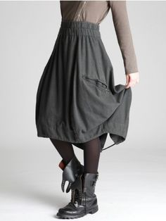 BALLOON SKIRT MADE OF WOOLY LOOKING COTTON WITH ELASTIC WAIST BAND - JACKETS, JUMPSUITS, DRESSES, TROUSERS, SKIRTS, JERSEY, KNITWEAR, ACCESORIES - Woman -