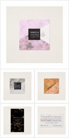Various sizes and style business card design templates for online customization. Great business cards ideas for interior designers, freelance writers and bloggers , teachers, artists and more.  Marble Business Cards & Office supplies