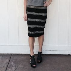 Midi skirt Knit midi black and cream body con skirt by BB Dakota • no size tag, fits size XS/S, 2/4 BB Dakota Skirts Midi