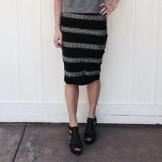 Midi skirt Knit midi black and cream body con skirt by BB Dakota • no size tag, fits size XS/S, 2/4 BB Dakota Skirts Midi