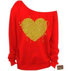 Valentine's Day Heart Glitter Slouchy Sweatshirt Grunge Splatter Heart... (7.695 HUF) ❤ liked on Polyvore featuring tops, hoodies, sweatshirts, dark orange, women's clothing, glitter sweatshirt, heart sweatshirt, off shoulder sweatshirt, red sweatshirt and graphic sweatshirts