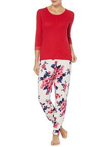 Red Pointelle Floral Cuffed Pyjamas