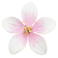 White Hawaiian Plumeria Swarovski Crystal Flower Pin Brooch and Pendant 85cbbc9f910