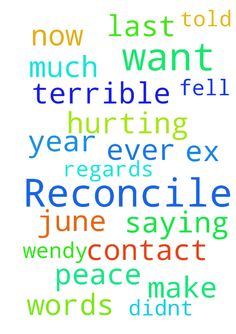 Reconcile -   Please pray for me I told my ex that I didn't want him ever to contact me , now I fell terrible about saying that it was in June last year I want to make peace please pray that we can reconcile my words with him it's hurting me so much�    regards�    Wendy�   Posted at: https://prayerrequest.com/t/5nJ #pray #prayer #request #prayerrequest