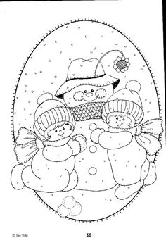 Christmas Coloring Pages - Snowman Christmas Coloring Pages, Coloring Book Pages, Christmas Embroidery, Hand Embroidery, Christmas Colors, Christmas Crafts, Illustration Noel, Applique Patterns, Quilt Pattern