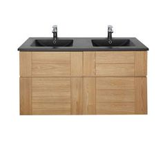 Plan vasque Essential Noir 120 cm,Meuble sous-vasque frêne 60 cm Essential II