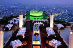 Sirrocco & Sky Bar, Bangkok Thailand.   My design Inspiration - 1960's Movie La Dolce Vita   www.dwp.com