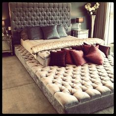 I want this bed! large bed with quilted or button tufted headboard and built in lounger lounge couch