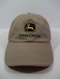 c257e1ff6355f John Deere All Fabric TAN Canvas Hat   Cap w Black Vintage Logo  amp