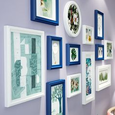 13 pieces one set of different size solid wood picture photo frame set white blue mixed wall hanging Frame Wall Collage, Hanging Picture Frames, White Picture Frames, Picture Frame Sets, Hanging Pictures, Picture On Wood, Frames On Wall, Picture Photo, Picture Placement On Wall