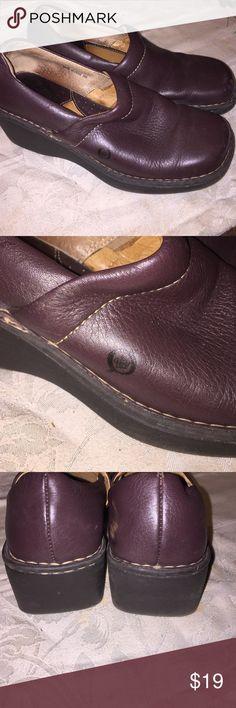 Selling this Womens dk brown leather shoes 9M wedge on Poshmark! My username is: kathyskashkrop. #shopmycloset #poshmark #fashion #shopping #style #forsale #Born #Shoes