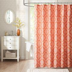 Marcello 72 In Coral Pink Shower Curtain